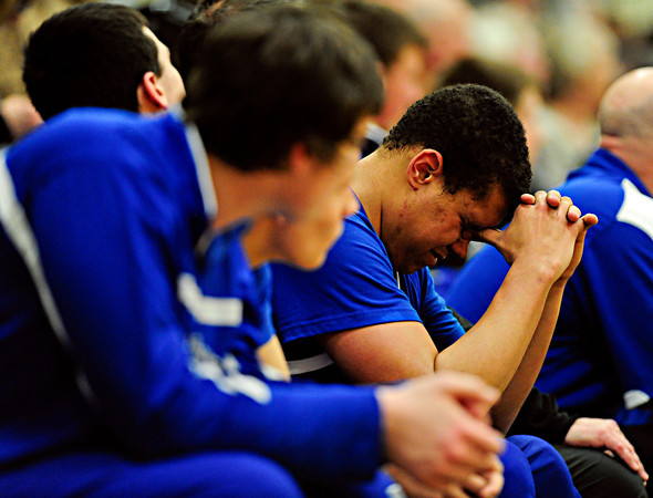 "Longmont's Marcus Johnson, right, reacts after fouling out of the game at D'Evelyn High School on Saturday, March 2, 2013. Longmont lost to D'Evelyn 72-58. For more photos visit  <a href=""http://www.BoCoPreps.com"">http://www.BoCoPreps.com</a>.<br /> (Greg Lindstrom/Times-Call)"