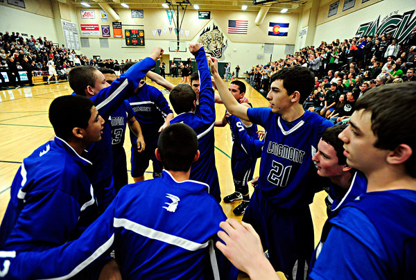 "Longmont players get ready to take the floor during the game at D'Evelyn High School on Saturday, March 2, 2013. Longmont lost to D'Evelyn 72-58. For more photos visit  <a href=""http://www.BoCoPreps.com"">http://www.BoCoPreps.com</a>.<br /> (Greg Lindstrom/Times-Call)"