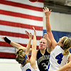 "Frederick's Shyanna Neu, center, is fouled as she goes up for a shot against Longmont's Alexis Cox (22) and Sydney Wetterstrom (4) during the game at Longmont High School on Monday, Dec. 10, 2012. Longmont beat Frederick 65-43. For more photos visit  <a href=""http://www.BoCoPreps.com"">http://www.BoCoPreps.com</a>.<br /> (Greg Lindstrom/Times-Call)"