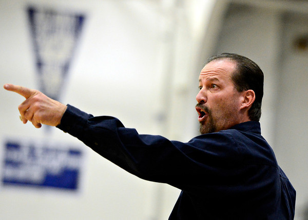 "Frederick head coach Roger Dufour calls out instructions during the game at Longmont High School on Monday, Dec. 10, 2012. Longmont beat Frederick 65-43. For more photos visit  <a href=""http://www.BoCoPreps.com"">http://www.BoCoPreps.com</a>.<br /> (Greg Lindstrom/Times-Call)"