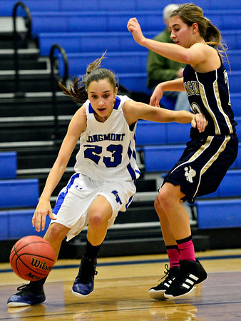 "Longmont's Kathryn Schell (23) tries to drive past Frederick's Makenzie Urban during the game at Longmont High School on Monday, Dec. 10, 2012. Longmont beat Frederick 65-43. For more photos visit  <a href=""http://www.BoCoPreps.com"">http://www.BoCoPreps.com</a>.<br /> (Greg Lindstrom/Times-Call)"