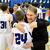 "Longmont head coach Jeff Kloster hugs Matt Burris after the game at Longmont High School on Tuesday, Jan. 22, 2013. Longmont beat Mountain View 75, Mountain View 38. For more photos visit  <a href=""http://www.BoCopreps.com"">http://www.BoCopreps.com</a><br /> (Greg Lindstrom/Times-Call)"