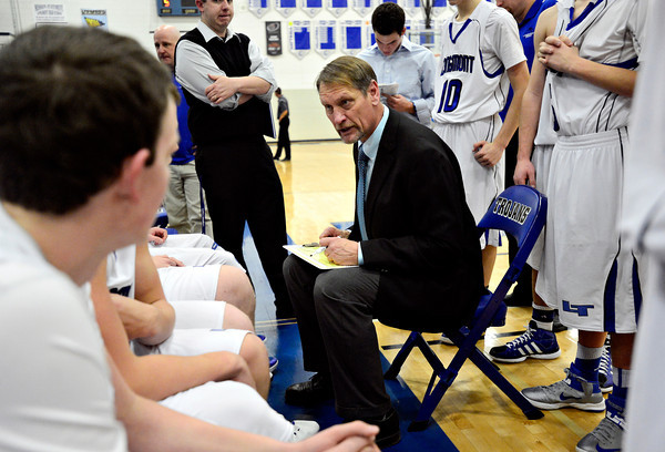 """Longmont head coach Jeff Kloster talks to his players during a timeout during the game at Longmont High School on Tuesday, Jan. 22, 2013. Longmont beat Mountain View 75, Mountain View 38. For more photos visit  <a href=""""http://www.BoCopreps.com"""">http://www.BoCopreps.com</a><br /> (Greg Lindstrom/Times-Call)"""