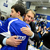 "Longmont head coach Jeff Kloster hugs Austin Kemp after the game at Longmont High School on Tuesday, Jan. 22, 2013. Longmont beat Mountain View 75, Mountain View 38. For more photos visit  <a href=""http://www.BoCopreps.com"">http://www.BoCopreps.com</a><br /> (Greg Lindstrom/Times-Call)"