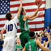 """Niwot's Jordan Keeler (3) goes up for a shot over Longmont's Justinian Jessup (10) during the game at Longmont High School on Friday, Jan. 11, 2013. Longmont beat Niwot 50-46. For more photos visit  <a href=""""http://www.BoCoPreps.com"""">http://www.BoCoPreps.com</a>.<br /> (Greg Lindstrom/Times-Call)"""
