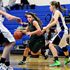 "Niwot's Jaelyn Larson (20) tries to dibble past Longmont's Gabriella Fallon, right, during the game at Longmont High School on Tuesday, Feb. 5, 2013. Longmont beat Niwot 71-27. For more photos visit  <a href=""http://www.BoCoPreps.com"">http://www.BoCoPreps.com</a>.<br /> (Greg Lindstrom/Times-Call)"