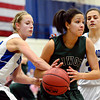 "Longmont's Sydney Wetterstrom, left, and Dailyn Johnson (34) defend Niwot's Anessa Calvert (22) during the game at Longmont High School on Tuesday, Feb. 5, 2013. Longmont beat Niwot 71-27. For more photos visit  <a href=""http://www.BoCoPreps.com"">http://www.BoCoPreps.com</a>.<br /> (Greg Lindstrom/Times-Call)"