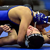 "Longmont's Eloy Valdez tries to pin Silver Creek's Ethan Nielsen during the wrestling meet at Longmont High School on Thursday, Dec. 13, 2012. For a more photos visit  <a href=""http://www.BoCoPreps.com"">http://www.BoCoPreps.com</a>.<br /> (Greg Lindstrom/Times-Call)"