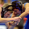 "Silver Creek's Justin McLean, left, competes against Longmont's Anthony Rubalcaba during the wrestling meet at Longmont High School on Thursday, Dec. 13, 2012. For a more photos visit  <a href=""http://www.BoCoPreps.com"">http://www.BoCoPreps.com</a>.<br /> (Greg Lindstrom/Times-Call)"