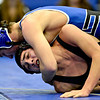 """Longmont's Lane Olsen competes against Silver Creek's Gavin Sais during the wrestling meet at Longmont High School on Thursday, Dec. 13, 2012. For a more photos visit  <a href=""""http://www.BoCoPreps.com"""">http://www.BoCoPreps.com</a>.<br /> (Greg Lindstrom/Times-Call)"""