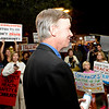 Gov. John Hickenlooper came to Longmont in September to talk oil and gas and was confronted by protesters. <br /> (Greg Lindstrom/Times-Call)