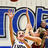 """Lyons' Lauren Simms (22) shoots over Frontier Academy's Alexa Rose during the game at Lyons High School on Thursday, Jan. 17, 2013. Frontier Academy beat Lyons 67-40. For more photos visit  <a href=""""http://www.BoCoPreps.com"""">http://www.BoCoPreps.com</a>. <br /> (Greg Lindstrom/Times-Call)"""