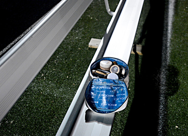 """A bag of make-up sits on a bench near the Mead sideline.  Mead lost to St. Mary's 21-20 during the varsity football game at Mead High School on Friday, Sept. 7, 2012.  For more photos visit  <a href=""""http://www.TimesCall.com"""">http://www.TimesCall.com</a>.<br /> (Greg Lindstrom/Times-Call)"""