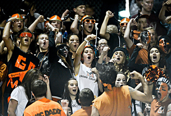 """The Mead student section cheers in the second half.  Mead lost to St. Mary's 21-20 during the varsity football game at Mead High School on Friday, Sept. 7, 2012.  For more photos visit  <a href=""""http://www.TimesCall.com"""">http://www.TimesCall.com</a>.<br /> (Greg Lindstrom/Times-Call)"""