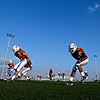 "Mead players warm up before the game.  Mead lost to St. Mary's 21-20 during the varsity football game at Mead High School on Friday, Sept. 7, 2012.  For more photos visit  <a href=""http://www.TimesCall.com"">http://www.TimesCall.com</a>.<br /> (Greg Lindstrom/Times-Call)"