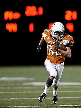 """Mead's Alex Mead breaks away on touchdown catch late in the fourth quarter.  Mead lost to St. Mary's 21-20 during the varsity football game at Mead High School on Friday, Sept. 7, 2012.  For more photos visit  <a href=""""http://www.TimesCall.com"""">http://www.TimesCall.com</a>.<br /> (Greg Lindstrom/Times-Call)"""