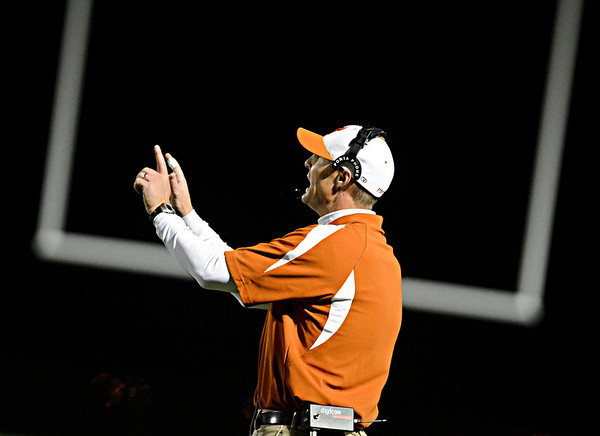 "Mead head coach Jason Klatt calls out a play in the second half.  Mead lost to St. Mary's 21-20 during the varsity football game at Mead High School on Friday, Sept. 7, 2012.  For more photos visit  <a href=""http://www.TimesCall.com"">http://www.TimesCall.com</a>.<br /> (Greg Lindstrom/Times-Call)"