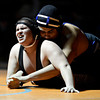 """Longmont's Chris Palacios, right, and Mead's Jack Gallegos compete during the dual meet at Mead High School on Wednesday, Feb. 6, 2013. For more photos visit  <a href=""""http://www.BoCoPreps.com"""">http://www.BoCoPreps.com</a>.<br /> (Greg Lindstrom/Times-Call)"""