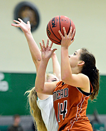 "Mead's Marina Hanlon (14) tries to shoot over Niwot's Callie Hensen during the game at Niwot High School on Tuesday, Dec. 11, 2012. Mead beat Niwot 52-19. For more photos visit  <a href=""http://www.BoCoPreps.com"">http://www.BoCoPreps.com</a>.<br /> (Greg Lindstrom/Times-Call)"