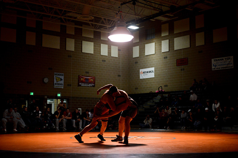 "Mead's Jack Gallegos, left, competes against Roosevelt's Tyler Hayden during the wrestling meet at Mead High School on Wednesday, Jan. 16, 2013. For more photos visit  <a href=""http://www.BoCoPreps.com"">http://www.BoCoPreps.com</a>.<br /> (Greg Lindstrom/Times-Call)"