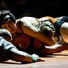 """Mead's Dyllan Burch tries to pin Roosevelt's Blake Slaymaker during the wrestling meet at Mead High School on Wednesday, Jan. 16, 2013. For more photos visit  <a href=""""http://www.BoCoPreps.com"""">http://www.BoCoPreps.com</a>.<br /> (Greg Lindstrom/Times-Call)"""