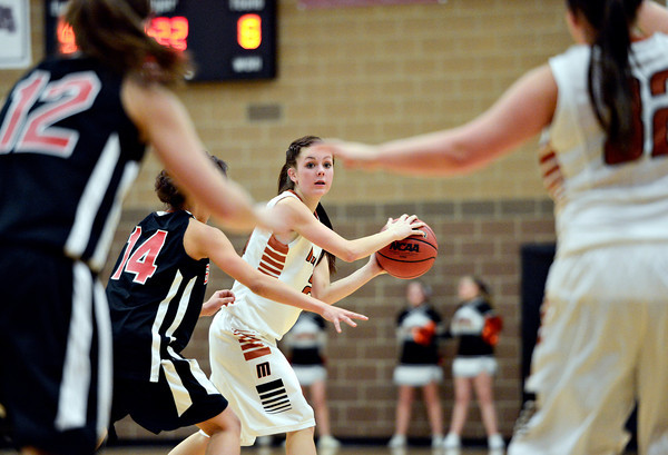 "Mead's Rylee Ward looks for an open teammate during the game at Mead High School on Friday, Jan. 4, 2013. Mead beat Skyline 52-40. For more photos visit  <a href=""http://www.BoCoPreps.com"">http://www.BoCoPreps.com</a>. <br /> (Greg Lindstrom/Times-Call)"