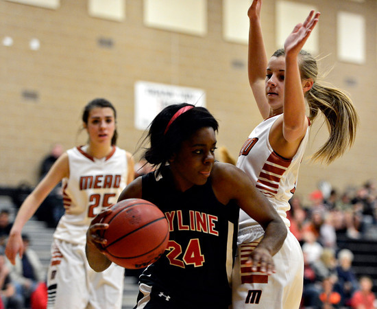 "Skyline's Deandra Elcock (24) dribbles around Mead's Katie Maher during the game at Mead High School on Friday, Jan. 4, 2013. Mead beat Skyline 52-40. For more photos visit  <a href=""http://www.BoCoPreps.com"">http://www.BoCoPreps.com</a>. <br /> (Greg Lindstrom/Times-Call)"