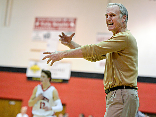 "Monarch head coach Ken Niven reacts to a call during the game at Fairview High School on Thursday, Feb. 21, 2013. Fairview beat Monarch 60-51 to clinch the Front Range League title. For more photos visit  <a href=""http://www.BoCoPreps.com"">http://www.BoCoPreps.com</a>.<br /> (Greg Lindstrom/Times-Call)"