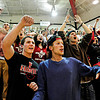 "Daniel Hoskins, left, Aaron MacArthur, right, and other Fairview students celebrate a basket late in the fourth quarter during the game at Fairview High School on Thursday, Feb. 21, 2013. Fairview beat Monarch 60-51 to clinch the Front Range League title. For more photos visit  <a href=""http://www.BoCoPreps.com"">http://www.BoCoPreps.com</a>.<br /> (Greg Lindstrom/Times-Call)"