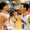 "Fairview's Gabe Tierney, left, and Alex Waters, right, celebrate after the game at Fairview High School on Thursday, Feb. 21, 2013. Fairview beat Monarch 60-51 to clinch the Front Range League title. For more photos visit  <a href=""http://www.BoCoPreps.com"">http://www.BoCoPreps.com</a>.<br /> (Greg Lindstrom/Times-Call)"