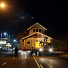 """The blue house travels along Main Street on its route to 1800 Kristy Court in Prospect on Wednesday, Nov. 14, 2012.  For more photos and a video visit  <a href=""""http://www.TimesCall.com"""">http://www.TimesCall.com</a>.<br /> (Greg Lindstrom/Times-Call)"""