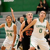 Niwot High School's Abbie Montgomery (No. 0) and Deyja Enriquez (No. 24) try to box out Erie High School's Alyson Romey (No. 52) during the third quarter, Friday, Nov. 30, 2012, at NHS.<br /> (Matthew Jonas/Times-Call)