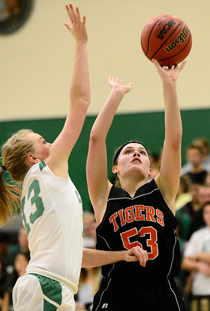 Erie High School's Piper Zeier (No. 53) puts up a shot over Niwot High School's Hannah Sarosi (No. 13) during the third quarter, Friday, Nov. 30, 2012, at NHS.<br /> (Matthew Jonas/Times-Call)