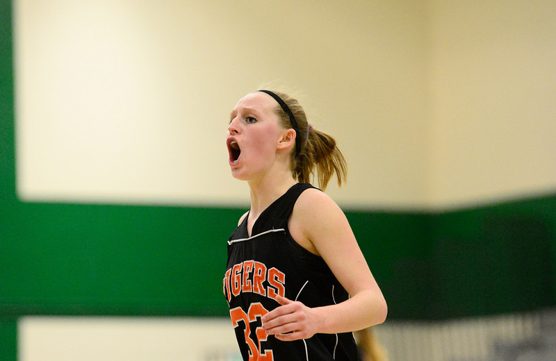 Erie High School's Haley Gallagher (No. 32) reacts to a call during the fourth quarter, Friday, Nov. 30, 2012, at NHS.<br /> (Matthew Jonas/Times-Call)
