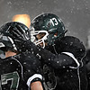 "Niwot's Nate Merriman (13) and Elijah Noterman celebrate after connecting for a touchdown in the fourth quarter during the game at Everly-Montgomery Field on Thursday, Oct. 25, 2012. Windsor beat Niwot 42-18. For more photos visit  <a href=""http://www.BoCoPreps.com"">http://www.BoCoPreps.com</a>.<br /> (Greg Lindstrom/Times-Call)"