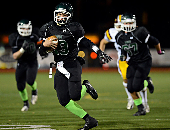"""Niwot's Nathan Merriman runs the ball during the game at Everly-Montgomery Field on Thursday, Oct. 25, 2012.   Windsor beat Niwot 42-18.  For more photos visit  <a href=""""http://www.BoCoPreps.com"""">http://www.BoCoPreps.com</a>.<br /> (Greg Lindstrom/Times-Call)"""