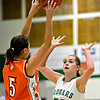 "Niwot's Jaelyn Larson (20) pressures Denver West's Angelique Ocon during the game at Niwot High School on Friday, Dec. 7, 2012. For more photos visit  <a href=""http://www.BoCoPreps.com"">http://www.BoCoPreps.com</a>.<br /> (Greg Lindstrom/Times-Call)"