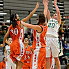 "Niwot's Jaelyn Larson (20) shoots over Denver West defenders during the game at Niwot High School on Friday, Dec. 7, 2012. Niwot won 44-33. For more photos visit  <a href=""http://www.BoCoPreps.com"">http://www.BoCoPreps.com</a>.<br /> (Greg Lindstrom/Times-Call)"
