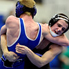 """Niwot's Joey Lambert, right, works against Longmont's Colten Montgomery during the dual meet at Longmont High School on Thursday, Jan. 31, 2013. For more photos visit  <a href=""""http://www.BoCoPreps.com"""">http://www.BoCoPreps.com</a>.<br /> (Greg Lindstrom/Times-Call)"""