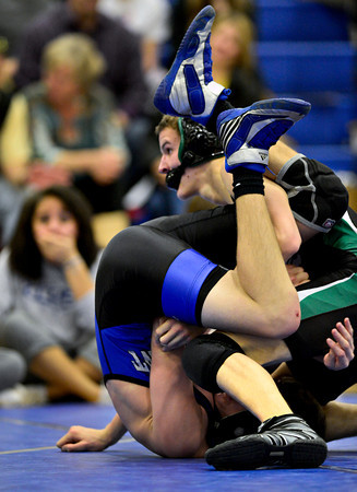 """Niwot's Jessie Slepicka pins Longmont's Zach Sprecher during the dual meet at Longmont High School on Thursday, Jan. 31, 2013. For more photos visit  <a href=""""http://www.BoCoPreps.com"""">http://www.BoCoPreps.com</a>.<br /> (Greg Lindstrom/Times-Call)"""