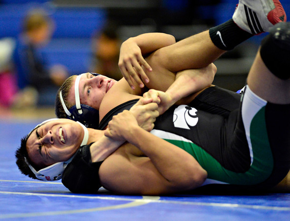 """Longmont's Drake Greeott, top, competes against Niwot's Cristian Ramirez during the dual meet at Longmont High School on Thursday, Jan. 31, 2013. For more photos visit  <a href=""""http://www.BoCoPreps.com"""">http://www.BoCoPreps.com</a>.<br /> (Greg Lindstrom/Times-Call)"""