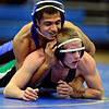 "Longmont's Fernando Ramos Vega, top, competes against Niwot's Damien O'Hare during the dual meet at Longmont High School on Thursday, Jan. 31, 2013. For more photos visit  <a href=""http://www.BoCoPreps.com"">http://www.BoCoPreps.com</a>.<br /> (Greg Lindstrom/Times-Call)"