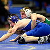 """Niwot's Clay Robinson, right, competes against Longmont's Ben Ahern during the dual meet at Longmont High School on Thursday, Jan. 31, 2013. For more photos visit  <a href=""""http://www.BoCoPreps.com"""">http://www.BoCoPreps.com</a>.<br /> (Greg Lindstrom/Times-Call)"""