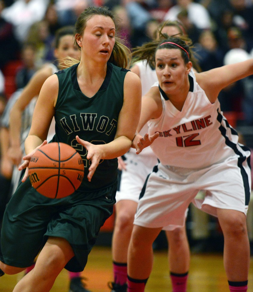 Niwot's Jacqui Sigg drives past Skyline's Allison Curtis in the second quarter Saturday night Dec. 15, 2012 at Skyline High School.(Lewis Geyer/Times-Call)