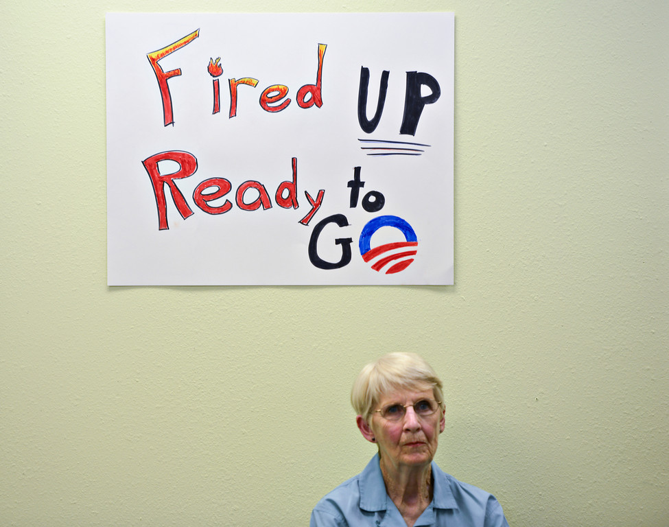 "Pat Thompson, of Longmont, waits for the official opening of the field office for President Barack Obama's Colorado re-election campaign on Monday, July 16, 2012.  Thompson plans to volunteer at the office.  The office is located at 1811 Hover St. in Longmont.  For more photos and a video visit  <a href=""http://www.timescall.com"">http://www.timescall.com</a>.<br /> (Greg Lindstrom/Times-Call)"