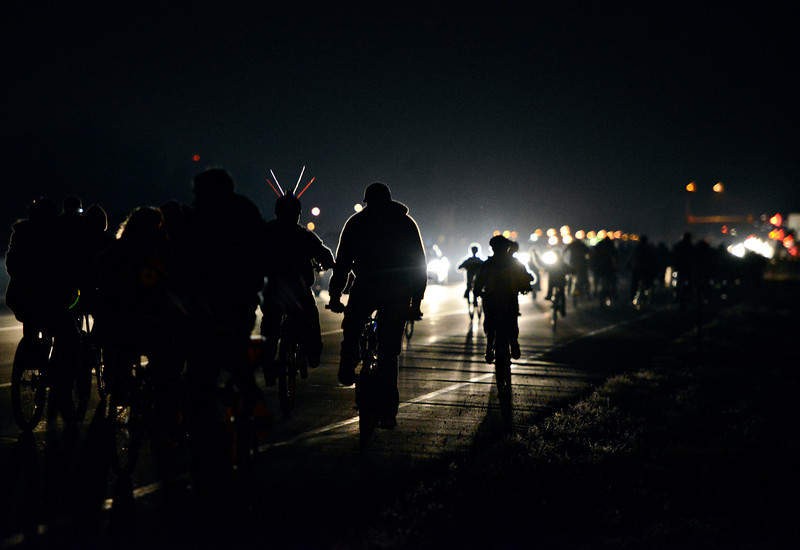 More than one hundred community members attended a ride in remembrance of Jordan McMullen in Frederick on Friday, Nov. 16, 2012.<br /> (Greg Lindstrom/Times-Call)