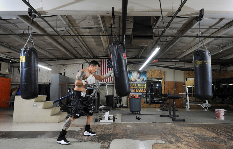 Raul Carrillo, 26, at the Longmont Boxing Club Saturday morning Jan. 28, 2012.  (Lewis Geyer/Times-Call)