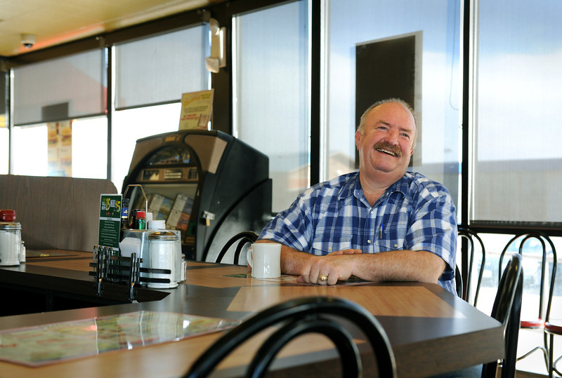 Realtor Arnold Turner shares stories about the history of Del Camino at the Waffle House in Del Camino Tuesday Feb. 21, 2012. (Lewis Geyer/Times-Call)