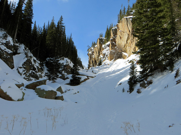 Snowshoeing beside the cliffs at Loch Lake in Rocky Mountain National Park Sunday, Feb. 17th. (Photo submitted by Ruth Klotz)