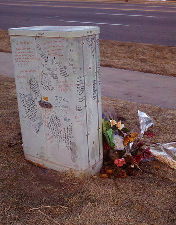Handwritten messages left at utility box memorial on North Main Street for the teenager who died after being struck by car New Years Eve. (Photo submitted by B. Rodriguez)
